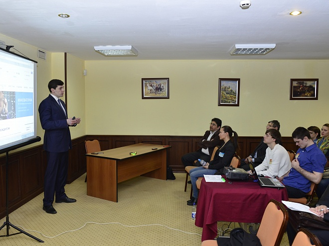 "Vitaly Kastalsky gives a master-class  (Managing Partner of Intellectual Property Centre ""Skolkovo"")"